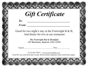 Dinner Gift Certificate Template