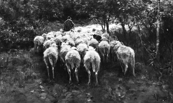 "Антон Мауве, ""Овцы в лесу"""