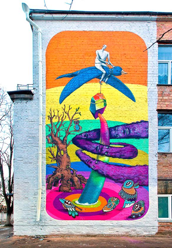 Совместная работа украинской группы Interesni Kazki и немецкого коллектива ZonenKinder ул. Дегтяревской, 23 (фасад Детской инфекционной больницы)