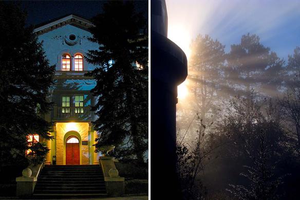 Гостиница в лунном свете (слева) и лучи солнца (справа)