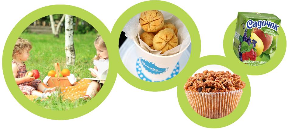 Едем на пикник, печенье Smakojane, маффин My Muffin, соки Sandora
