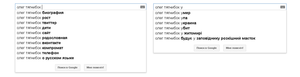 Тягнибок, Google