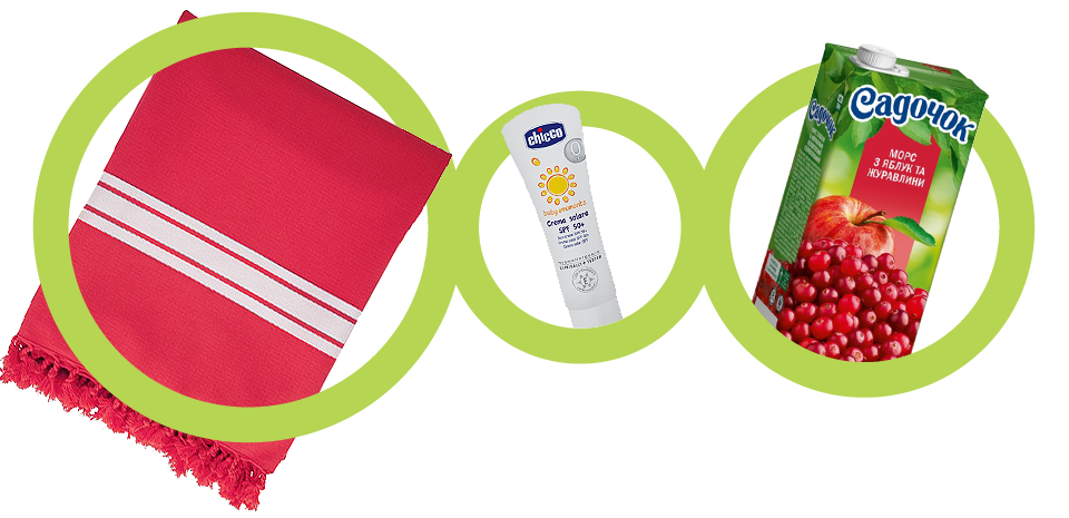 Пляжное полотенце, Butlers, Крем солнцезащитный, 50 SPF, Chicco, морс, «Садочок»