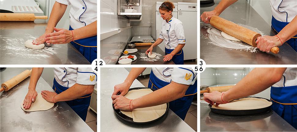 пицца, пицца с лососем и фетой, хит продаж, eda.ua, раскатываем тесто для пиццы