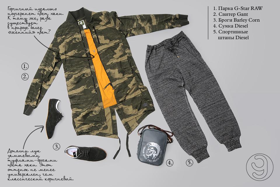 Stem, Walker, парка, G-Star RAW, свитер, Gant, спортивные штаныб Diesel, броги,  Barley Corn, сумка Diesel
