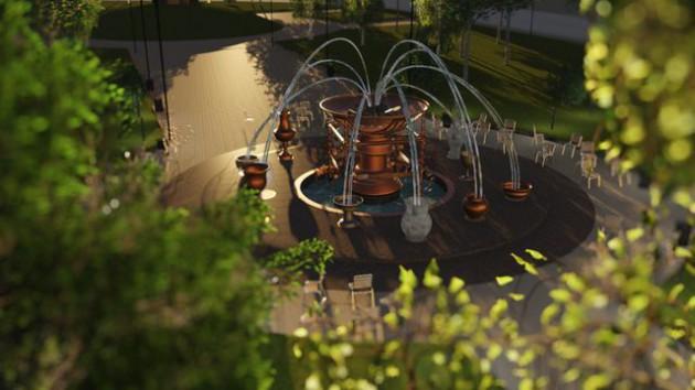 Вокруг отреставрированного фонтана установят стулья и постелят спортивный газон