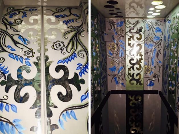 Активисты украсили лифты рыбками и растительными узорами