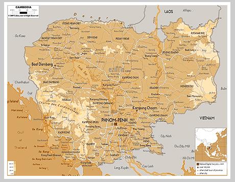 Cambodia, Камбоджаб карта