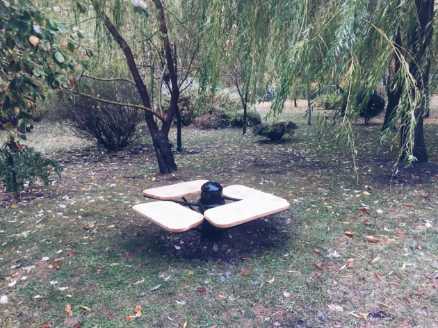 Дождь не помешал чиновникам презентовать новые варианты скамеек