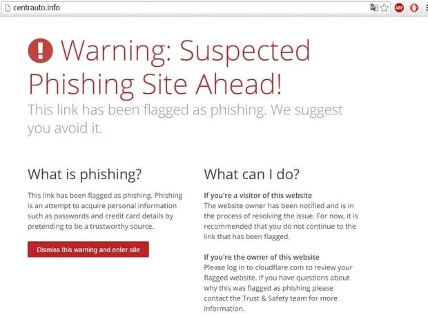 Сообщение, что ссылка centrauto.info помечена как мошенничество. Скриншот