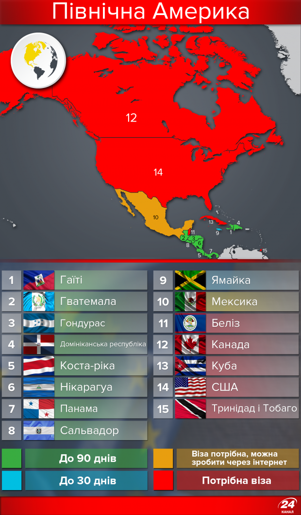 13 стран в Северной Америке открыли свои двери для украинцев