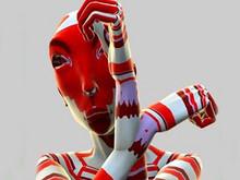 О.н.а (s.h.e.) сербки Наташи Теофилович являет собой виртуальное лицо художницы. Экраны размещены на расстоянии друг от друга так, что виртуальные персонажи переходят с экрана на экран, также минуя и реальное пространство
