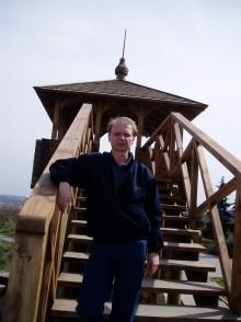 Сергей Гавриленко на на сторожевой башне крепости Полтава. Апрель 2009