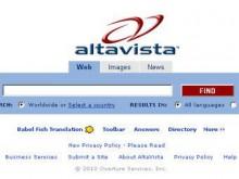 Скриншот гланой страницы поискового сервиса altavista.com