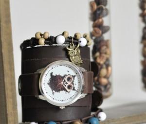 Эксклюзивные наручные часы с браслетами Сова из кофе AndyWatch