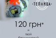 Всего 120 грн = безлимитный заказ роллов в ресторане «Теплица»