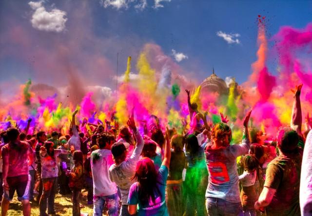 Фестиваль Холи, битва красками, индийский народный праздник