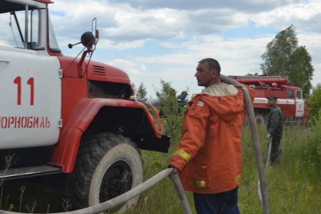 На территории чернобыльской зоны продолжается тушение очагов возгорания