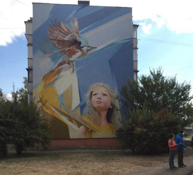 Картина появилась на жилом доме на ул. Синеозерной