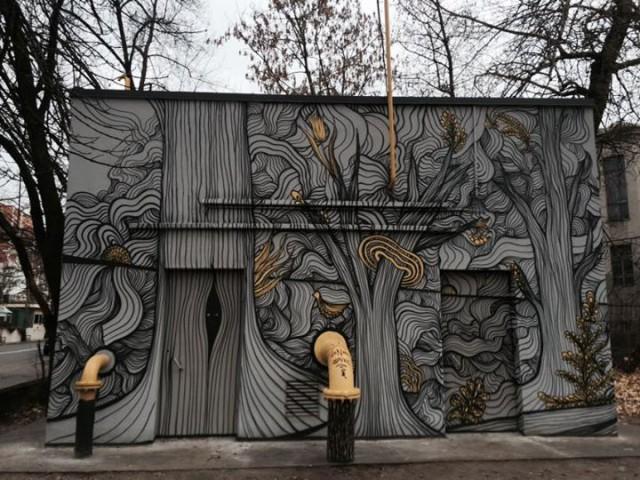 В Киеве в Павловском сквере на перекрестке Павловской и Гоголевской необычный мурал украсил газораспределительную станцию