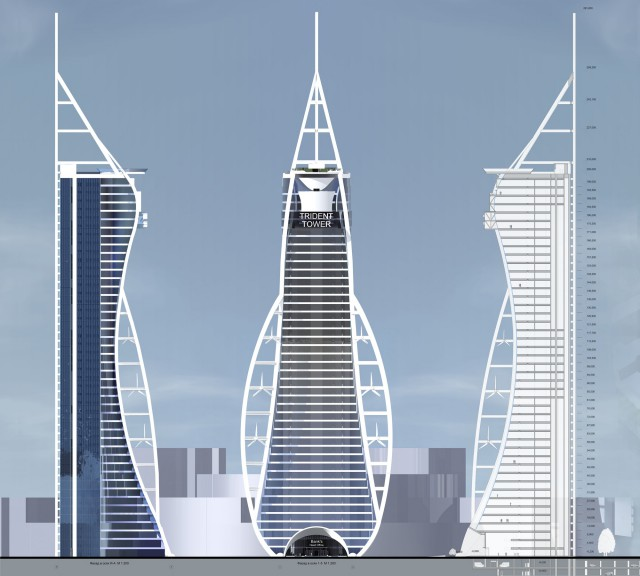 Тризуб. В 47-этажном здании может разместиться крупный банк.