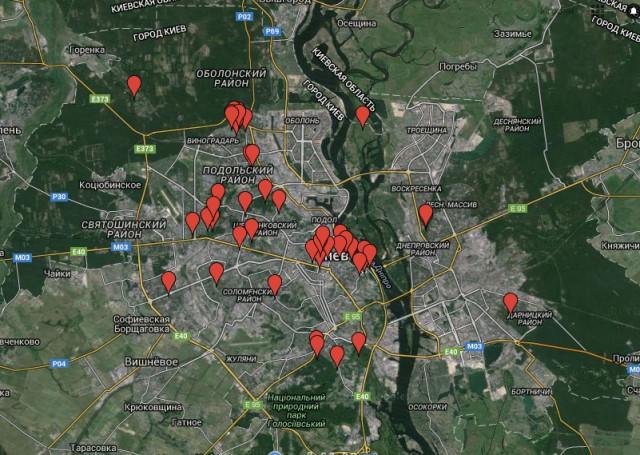 На карте отмечены все существующие «зеленые точки» столицы