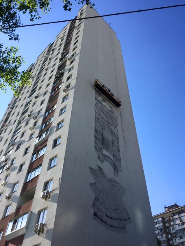 В Киев прилетел итальянский художник «2501» с целью разрисовать стену 24-этажного дома