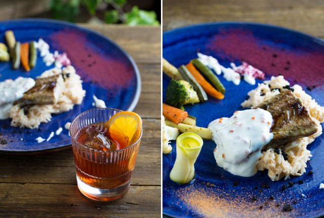 Осетр с рисом в сливочном соусе с перебитыми креветками и коктейль Amaro Negroni