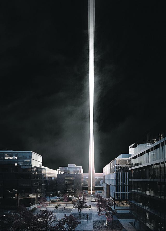Проект. Луч будет виден из любой точки города. Фото: UNIT.City Art Prize