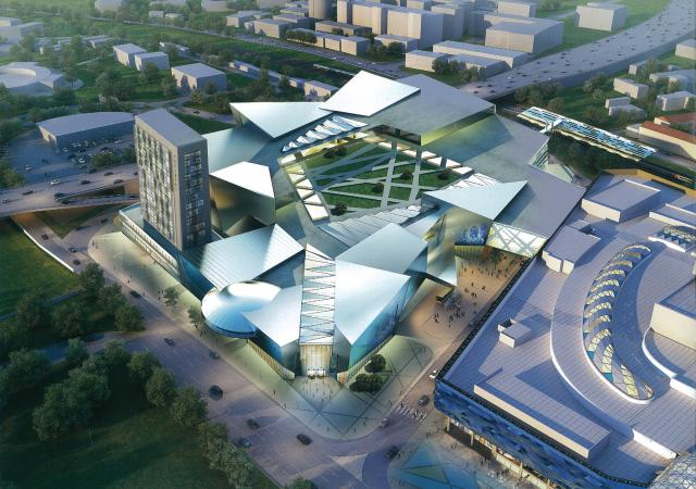 """Проект. Часть института и """"летающая тарелка"""" вписаны в будущий ТРЦ. Фото: megaline.ua"""
