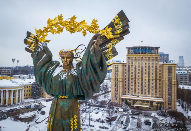 Как выглядит Киев в снегу с высоты птичьего полета. Фото